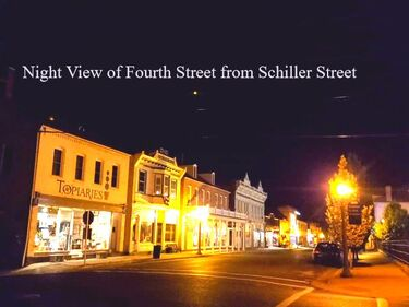 NIGHT VIEW OF 4TH STREET AS SEEN FROM THE HISTORIC IRON HORSE INN IN HERMANN